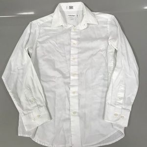 Calvin Klein White Sateen Button Down 14 Office